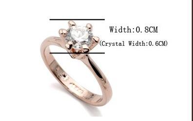anel solitário banhado a ouro com pedras austríacas