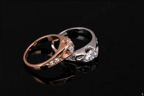 anel solitário banhado ouro