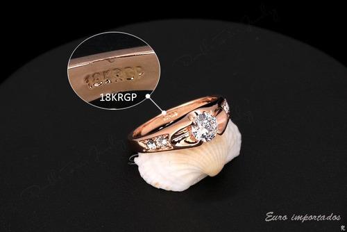 anel solitário banhado ouro rose 18k cristais swarovski