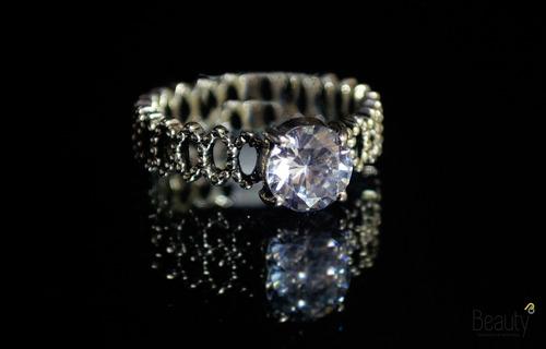 anel solitario casamento noivado estilo pandora com zirconia
