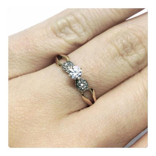 anel solitário clássico pedra 4 mm ouro 18k