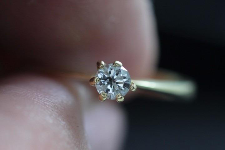 0ffaf811faf7b Anel Solitário Com Diamante 20 Ponto Ouro 18k - R  1.250