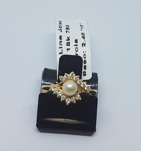 anel solitário com pérola em ouro 18k 750 impecável 2,31g