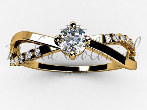 anel  solitário de 34 pontos. ouro18k!  diamantes - noivado