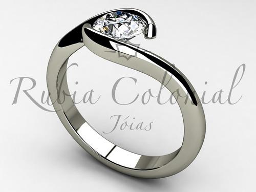anel  solitário de 50 pontos. diamante anel luxo