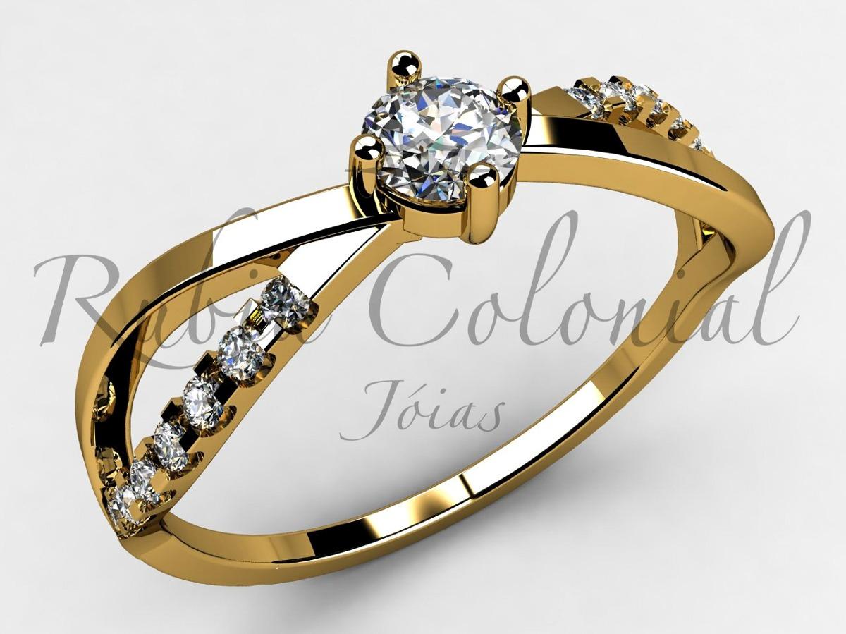 345c82451db8f anel solitário diamante 10 pontos e. 14 diamantes. Carregando zoom.