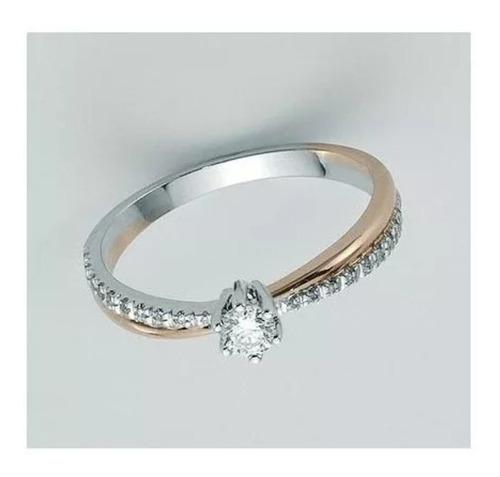 anel solitário diamantes ouro branco e rosê 18k!