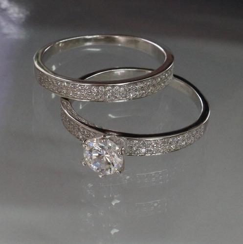 anel solitario duplo feminino noivado, compromisso prata 925