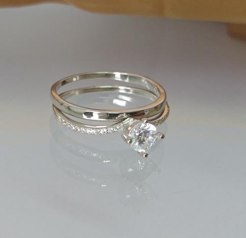 anel solitário duplo feminino noivado prata de lei 925
