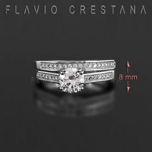 anel solitario duplo, noivado, zirconia branca, prata 925 co