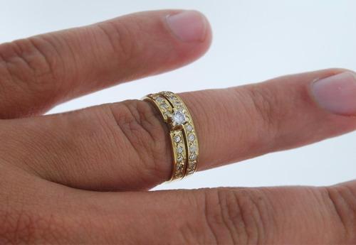 anel solitário e aparador ouro 18k e diamantes mod. cj1308