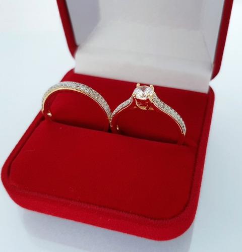 anel solitário feminino 2 anéis brilhantes banhado ouro 18k