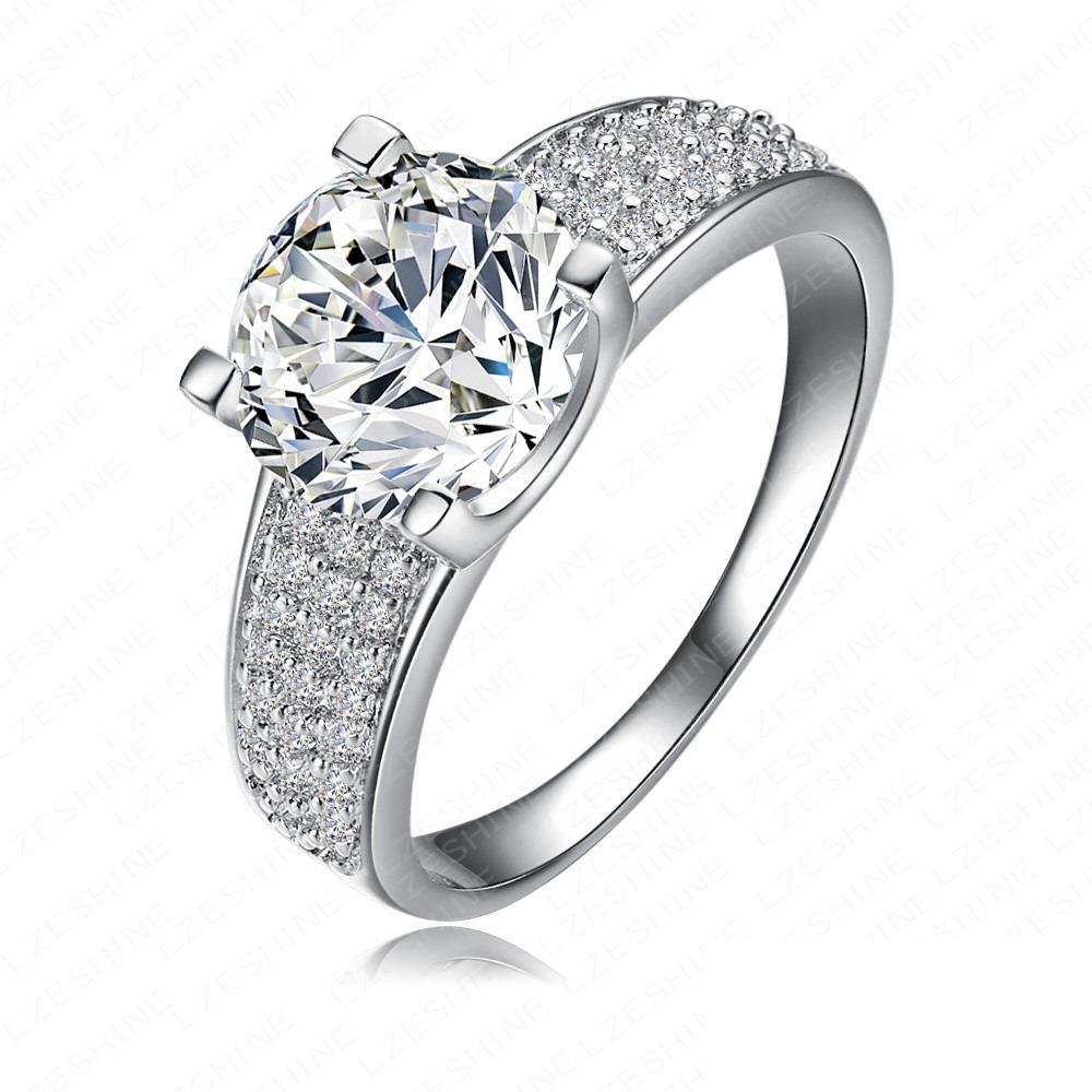 cc46db968f44d anel solitário feminino banhado ouro 18k pedra zirconia 8mm. Carregando  zoom.