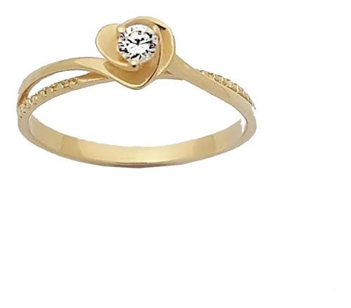 anel solitário feminino coração 15 anos ouro 18k .