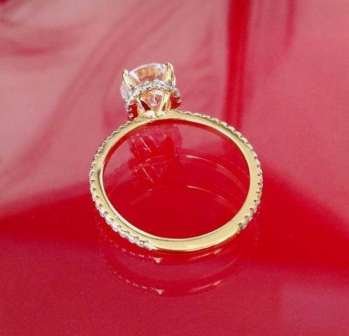 anel solitário feminino cristal brilhante banhado ouro 18k