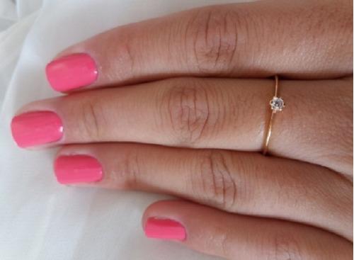anel solitário feminino folheado ouro