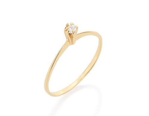 anel solitário feminino folheado ouro rommanel 512180