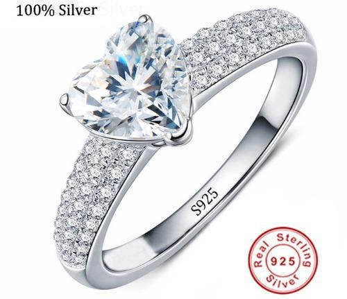 anel solitário feminino noivado ou compromisso banhado prata