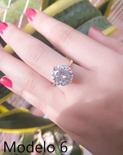 anel solitário feminino noivado semi joia banhado ouro 18k