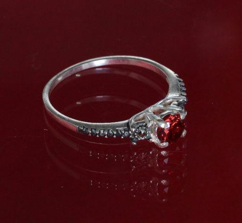 anel solitário feminino prata 925 maciça com pedra vermelha
