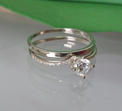 anel solitário feminino prata