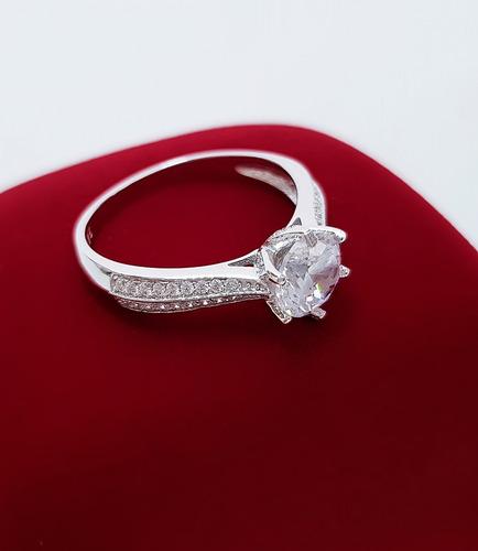 anel solitário feminino premium prata de lei 925