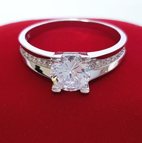 anel solitário feminino zirconia brilhante  prata de lei 925