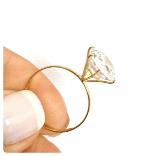 anel solitário grande 10 mm joia ouro 18k/750 certificado