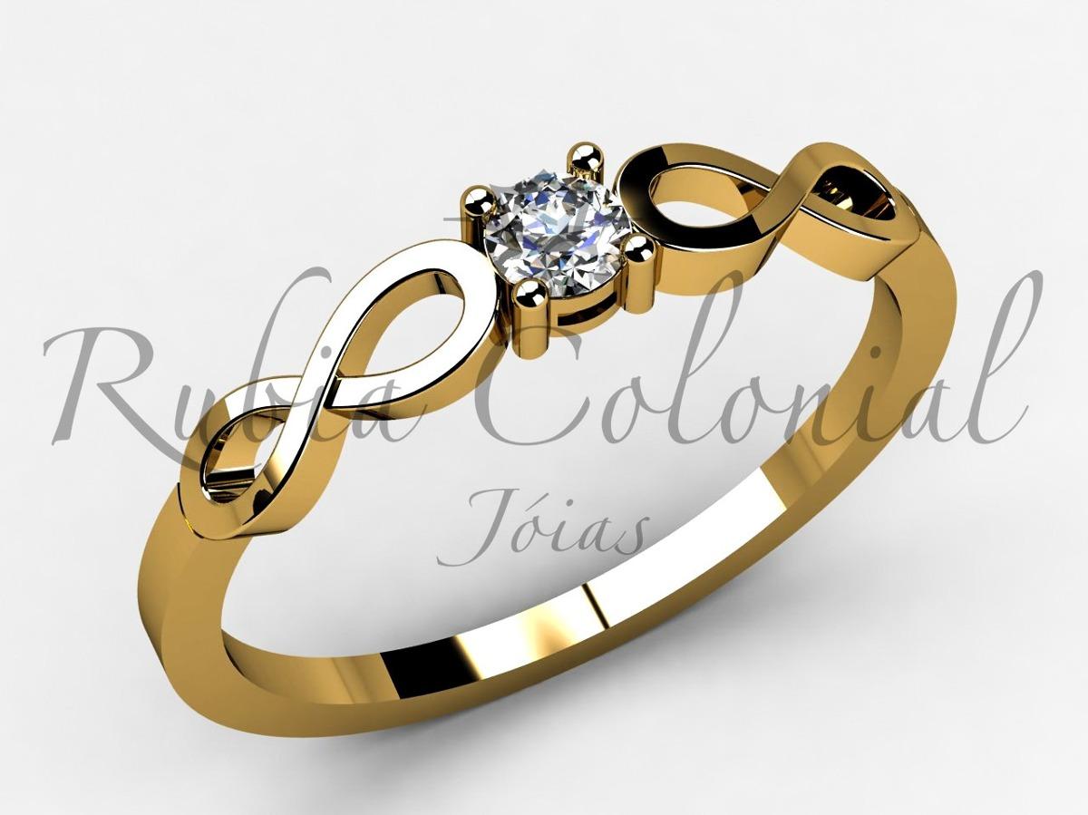 7772187a0d120 anel solitário - infinito - ouro 18k -20 pontos diamante. Carregando zoom.