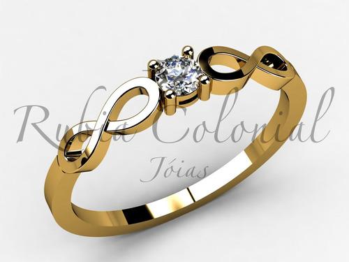 anel solitário infinito ouro 18k diamante. pronta entrega