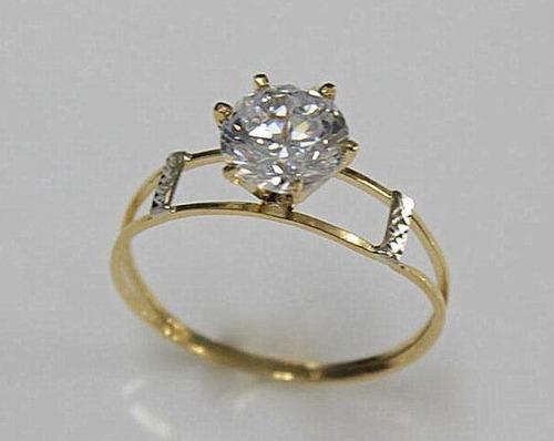 anel solitario maciço ouro 18k 750 aro duplo escolha a cor