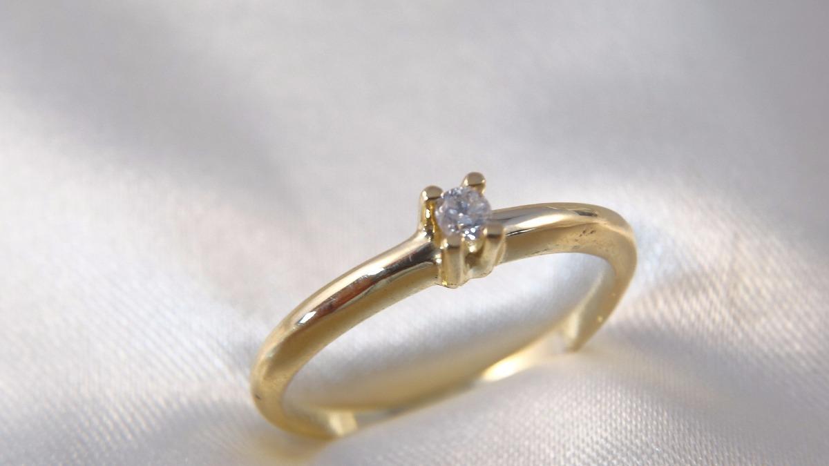 anel solitário moderno ouro amarelo com brilhante 08 pontos. Carregando  zoom. be5fee3958