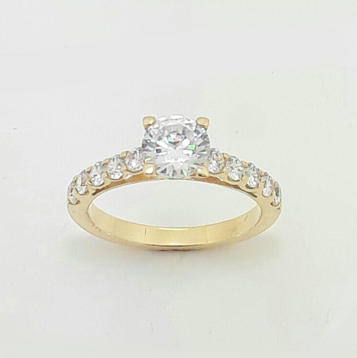 a17d408136e88 Anel Solitário Noivado Casamento Ouro 18k - R  890