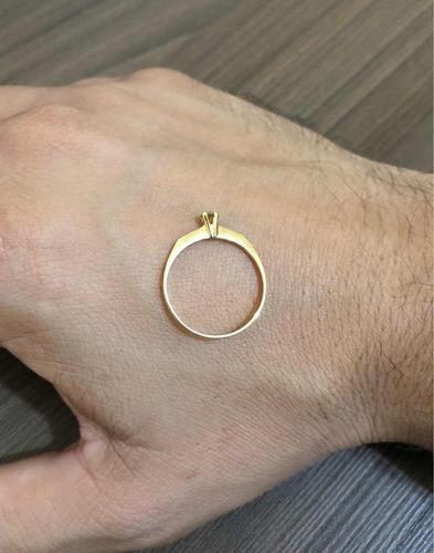 anel solitário ouro 18k 750 feminino diamante champanhe 7 pt
