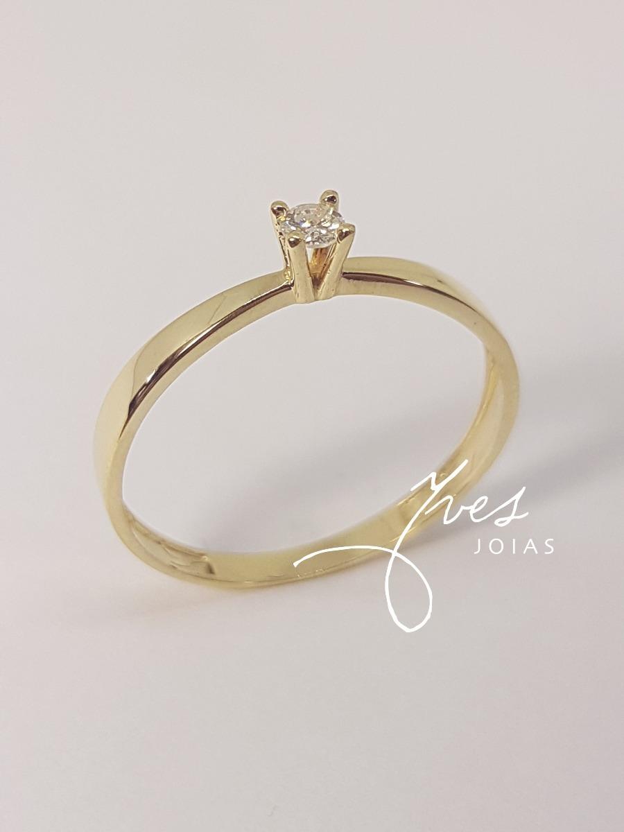 Anel Solitário Ouro 18k 750 Joia Noivado Com Diamante - R  1.132,00 ... 5e31d300ce