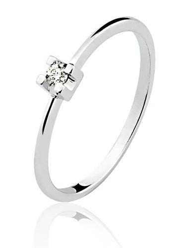 anel solitário ouro 18k c/ brilhante branco 5 ptos 40% off