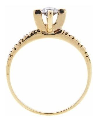 anel solitário ouro 18k com diamante 15pts mod. cj1202