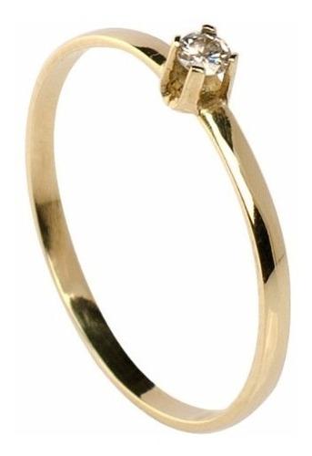 anel solitário ouro 18k com diamante mod. cj1027