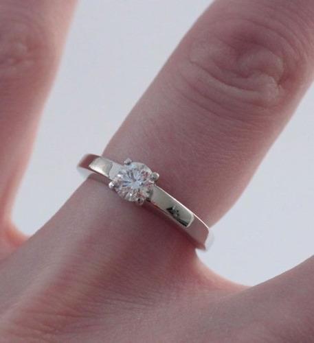 anel solitário ouro 18k diamante 50 pontos 0,5ct