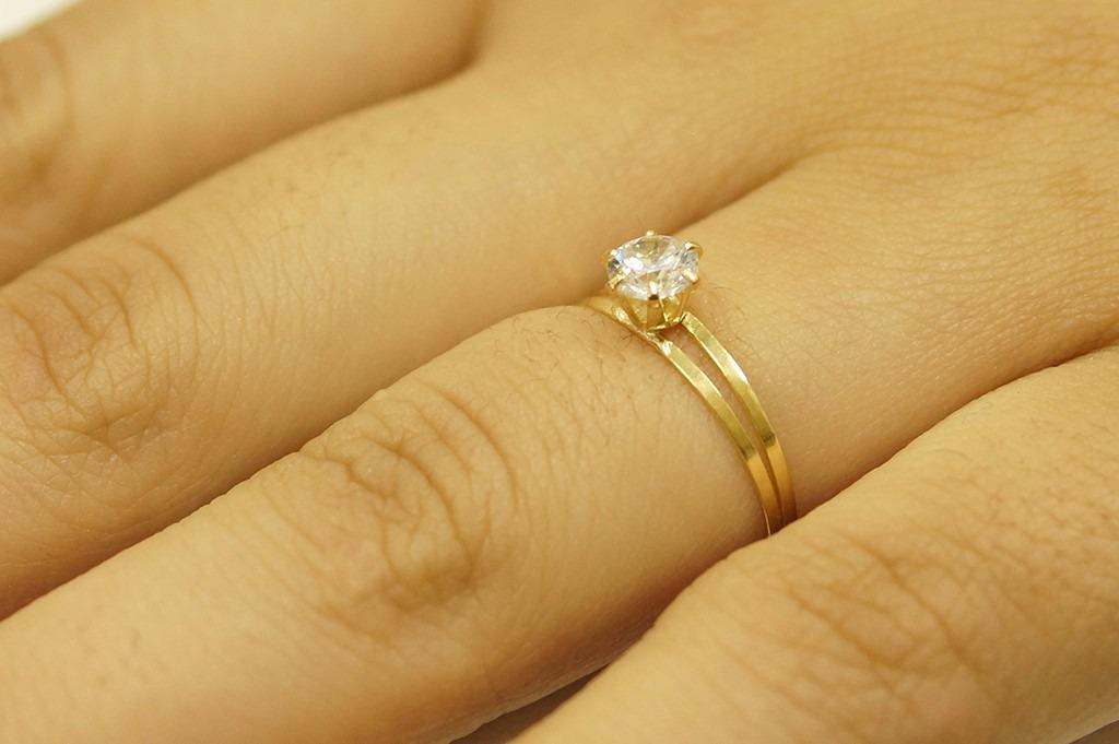 8a44f1de4ebca anel solitário ouro 18k feminino pedra zircônia noivado. Carregando zoom.
