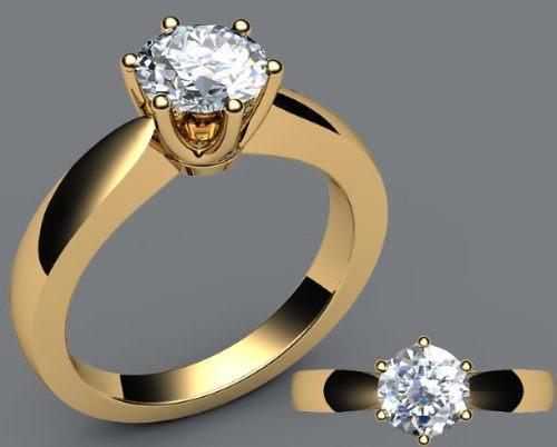 Anel Solitário De Ouro 18k Diamante De 0,35 Quilate - R  3.826,72 em ... 999bf2ec8b