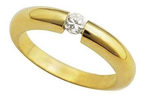 anel solitário ouro branco 18k com diamantes mod. cj1029