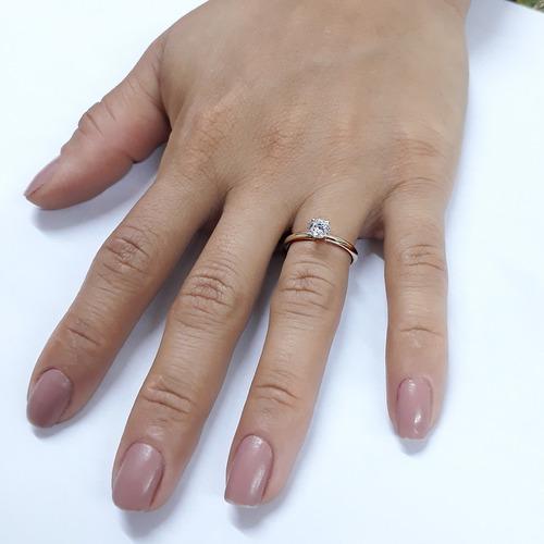 anel solitário ouro feminino