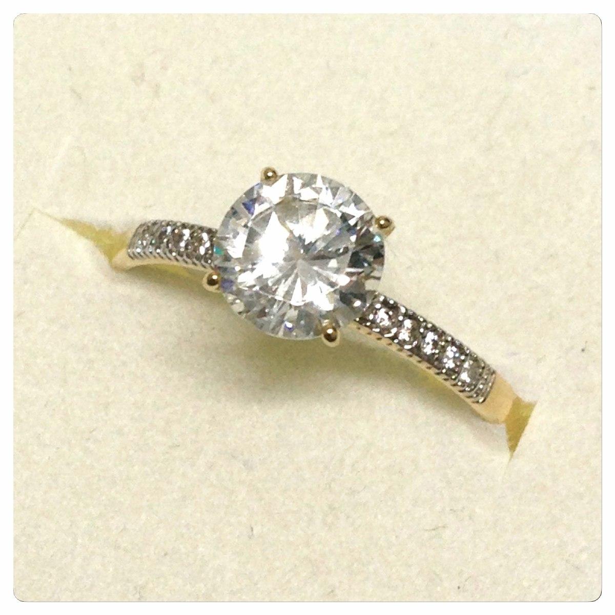 anel solitário pedra de 6mm joia de ouro 18k noivado 15 anos. Carregando  zoom. 4f4f206783