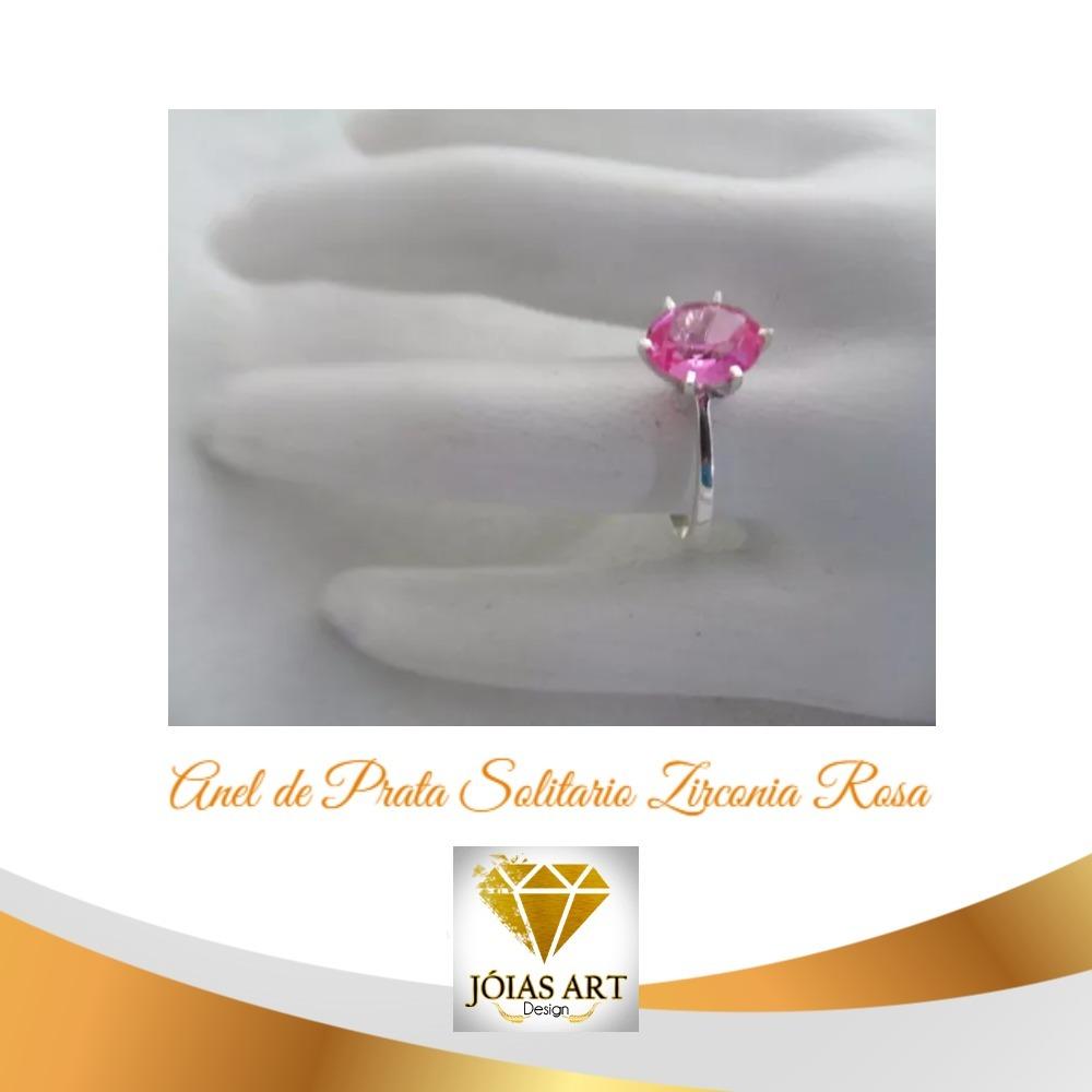 Anel Solitário Pedra Rosa Pink Oval Prata950 Cod.146 - R  120,00 em ... 76c11bddce