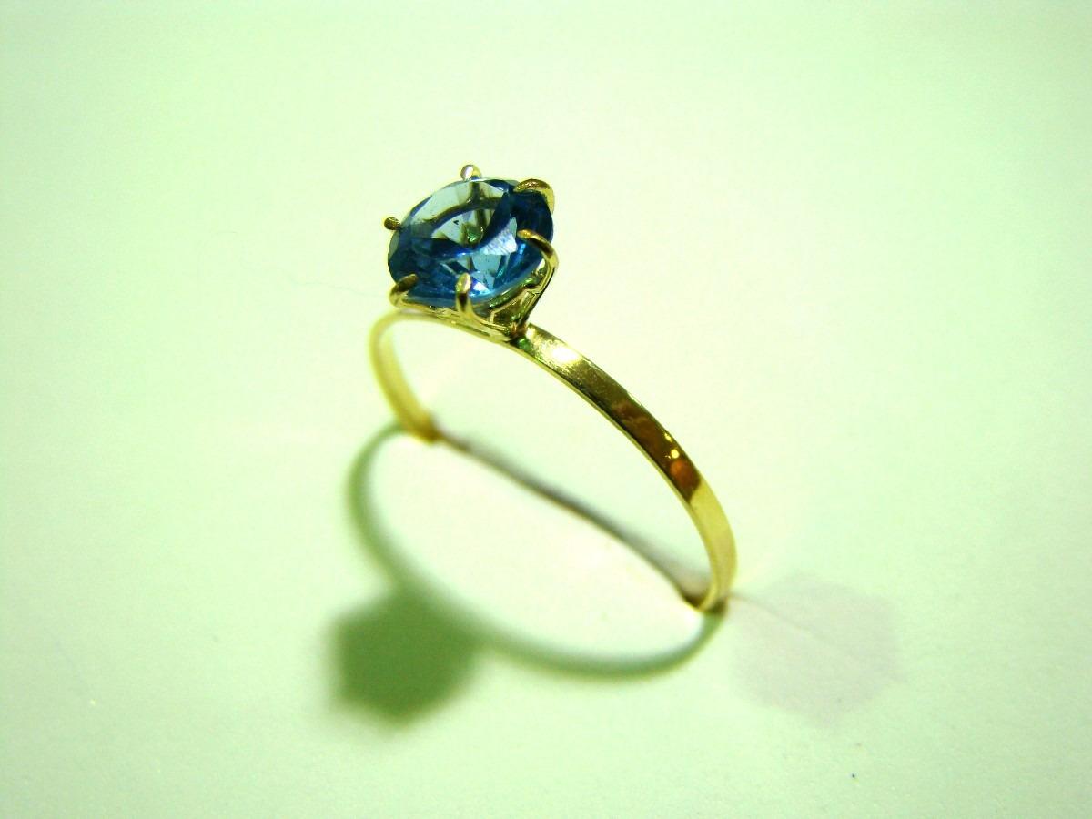 3dd4ec220a441 anel solitário pedra zircônia água marinha de 6 mm ouro 18k. Carregando  zoom.