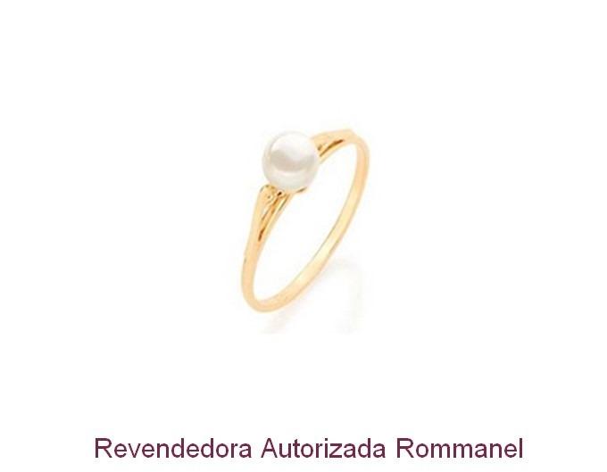 2b372fb064258 Anel Solitário Rommanel Folheado A Ouro Com Perola 510171 - R  61,00 ...
