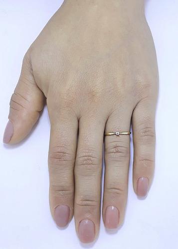 anel solitário18k 750 feminino debutante delicado 15 anos 25