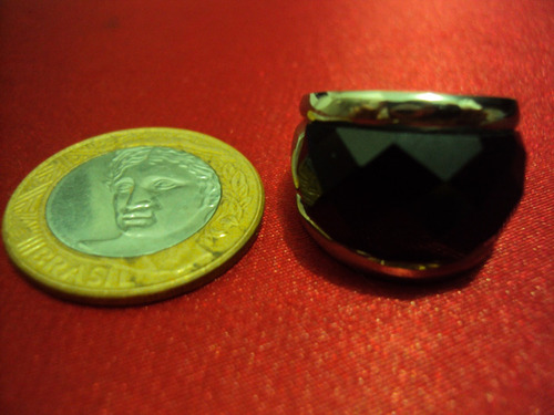 anel tamanho 13 em aço inoxidável com pedra pronta entrega