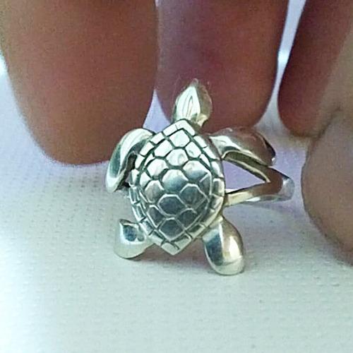 anel tartaruga em prata maciça 950 + certificado